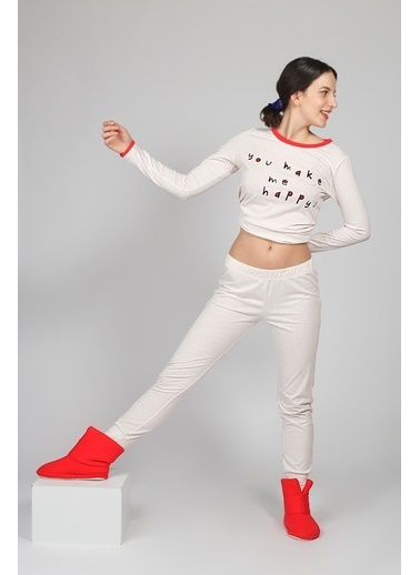 Hays Kadın Puan Baskılı Penye Pijama Üstü Kırmızı